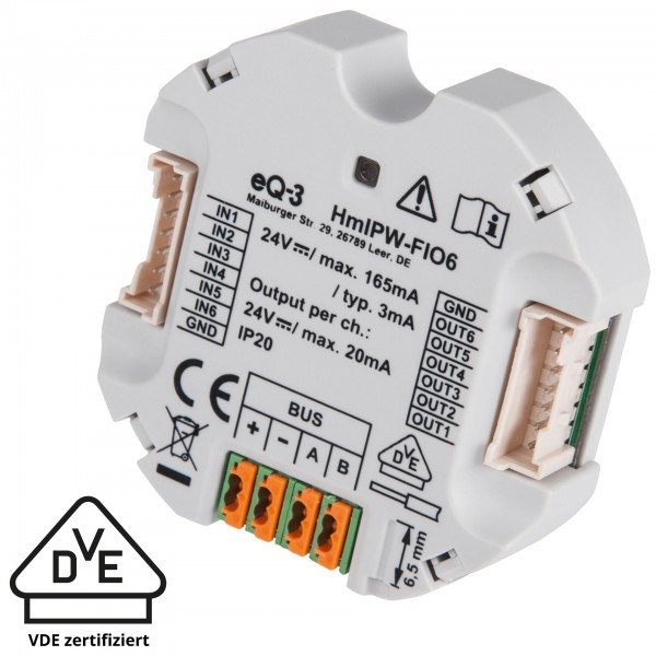 Homematic IP Wired IO Modul Unterputz – 6-fach